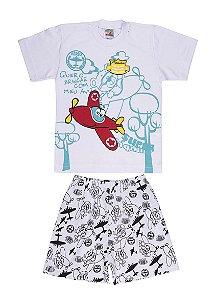 Pijama Menino Meia Manga Meia Malha - Avião - Branco