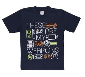 Camiseta Menino Meia Malha 30/1 - Marinho