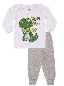 Pijama Menino Meia Malha - Branco com Mescla