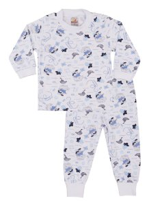 Pijama Menino Meia Malha - Estampa Barquinho Pirata