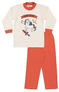 Pijama Menina Meia Malha - Marfim com Coral
