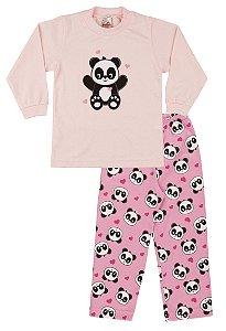 Pijama Menina Meia Malha - Rosa Claro com Chiclete