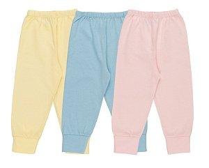 Kit Calça Pijama Unissex Meia Malha - Amarelo, Celeste e Rosa Claro