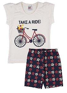 Conjunto Menina Ciclista Meia Malha 30 / Cotton - Marfim com Marinho