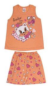 Pijama Menina Regata Meia Malha - Gatinha - Salmão