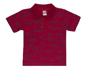 Camiseta Menino Gola Polo Meia Malha Fio 30/1- Vermelho
