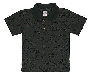 Camiseta Menino Gola Polo Meia Malha Fio 30/1- Musgo