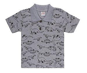 Camiseta Menino Gola Polo Meia Malha Fio 30/1- Mescla