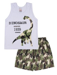 Conjunto Menino Regata Meia Malha 30/1 - Dinossauro - Branco com Camuflado