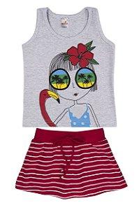 Conjunto Regata Cotton/Meia Malha 30/1 - Mescla Bebê com Vermelho