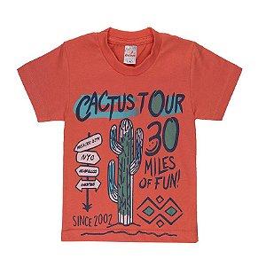 Camiseta Menino Meia Malha Fio 30/1 - Coral