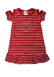 Vestido Listrado Meia Malha Fio 30/1 - Branco com Vermelho
