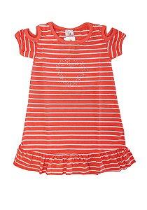 Vestido Listrado Meia Malha Fio 30/1 - Branco com Coral