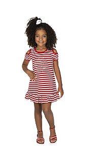 Vestido Meia Malha Listrada - Branco com Vermelho
