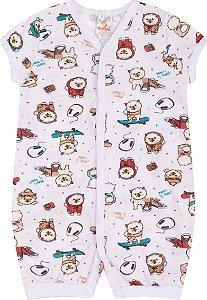 Pijama Macaquinho Menino Meia Malha Rotativa - Estampa Ursinho de Skate