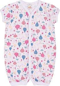 Pijama Macaquinho Menina Meia Malha Rotativa - Estampa Balão
