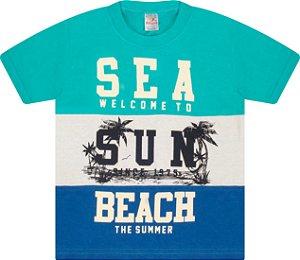 Camiseta Menino com Recorte Meia Malha Fio 30/1 - Verde Lago, Marfim e Royal