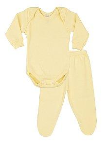 Conjunto Body Menina Ribana Canelada - Amarelo