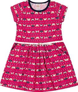 Vestido com Bolso Meia Malha - Estampa Borboletas