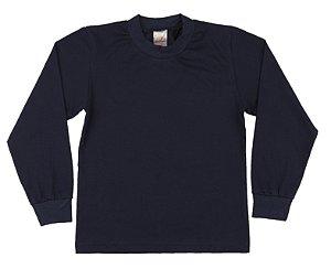 Camiseta Escolar Menino Manga Longa Meia Malha Fio 30/1 - Marinho