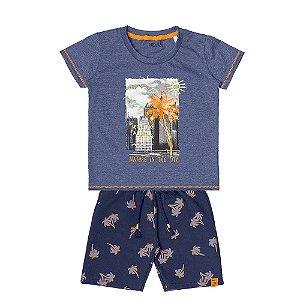 Conjunto Menino Camiseta Meia Malha e Bermuda Moletinho - Royal com Marinho