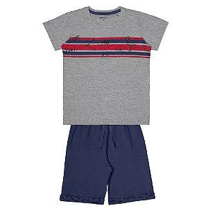 Conjunto Menino Camiseta Meia Malha e Bermuda Moletinho - Mescla com Marinho