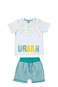 Conjunto Menino Camiseta Meia Malha Bermuda Moletom Listrado - Branco com Lago