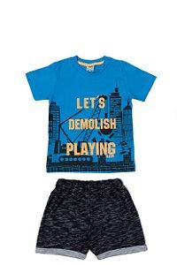 Conjunto Menino Camiseta Meia Malha Bermuda Moletinho Devore - Azul com Preto