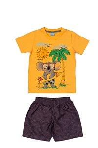 Conjunto Menino Camiseta Meia Malha Bermuda Tactel Subl - Laranja com Chumbo