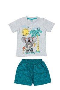 Conjunto Menino Camiseta Meia Malha Bermuda Tactel Subl - Mescla com Lago