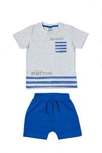 Conjunto Menino Camiseta Meia Malha Bermuda Moletom - Mescla com Azul