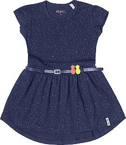 Vestido Menina Cotton Lycra - Marinho Glitter
