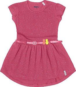 Vestido Menina Cotton Lycra - Pink Glitter