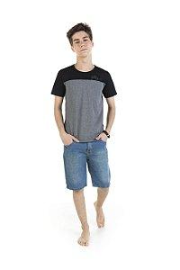 Camiseta Masculina Meia Malha - Mescla com Preto