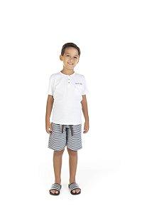 Conjunto Menino Camiseta Meia Malha Bermuda Moletom List - Branco