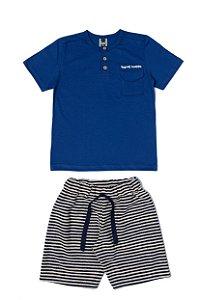 Conjunto Menino Camiseta Meia Malha Bermuda Moletom List - Marinho