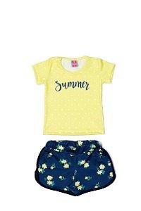Conjunto Menina Blusa e Shorts Cotton Sublimado - Amarelo