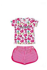 Conjunto Menina Blusa e Shorts Cotton Sublimado - Rosa