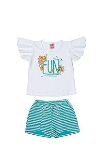Conjunto Menina Meia Malha Shorts Moletom List - Branco com Lago