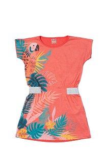 Vestido em Meia Malha Sublimada - Coral