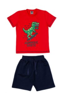Conjunto Menino Camiseta Meia Malha Bermuda Moletom - Vermelho com Marinho