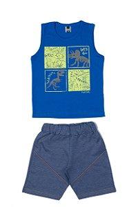 Conjunto Masculino Regata Meia Malha Bermuda Moletinho - Azul com Marinho