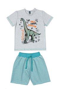 Conjunto Menino Camiseta Meia Malha Bermuda Moletom List - Mescla com Lago