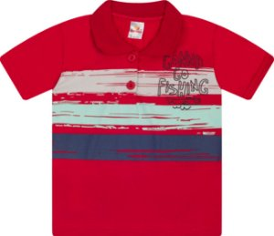 Camisa Gola Polo Menino Meia Malha Fio 30/1 - Vermelho