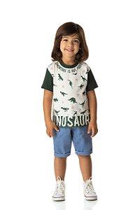 Camiseta Menino Meia Malha Fio 30/1 - Marfim com Musgo