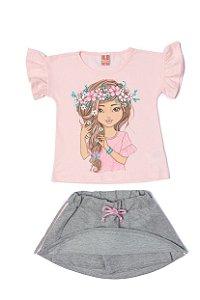 Conjunto Menina Blusa Meia Malha Shorts Saia - Rosa