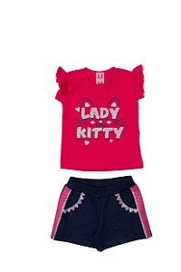 Conjunto Menina blusa Cotton Shorts Moletom - Cereja