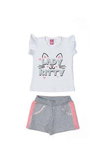 Conjunto Menina blusa Cotton Shorts Moletom - Branco