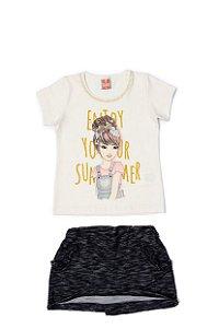 Conjunto Menina Blusa Cotton Shorts Mol Devore - Marfim