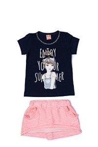 Conjunto Menina Blusa Cotton Shorts Mol Devore - Marinho